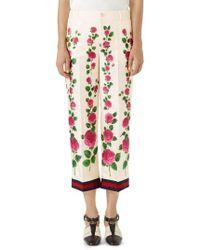 Gucci - Rose Print Silk Pajama Pants - Lyst