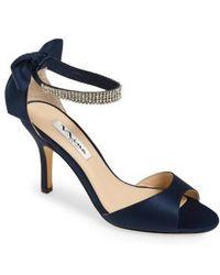 Nina - 'vinnie' Crystal Embellished Ankle Strap Sandal - Lyst