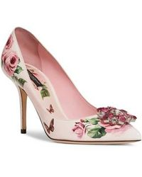 Dolce & Gabbana - Embellished Rose Print Pump - Lyst