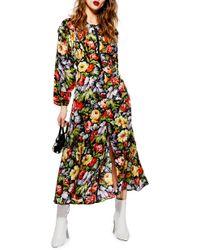 e57dd3eb17 Lyst - TOPSHOP Petite Floral Print Tea Dress in Black