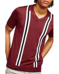 TOPMAN - Slim Fit Striped V-neck Polo - Lyst