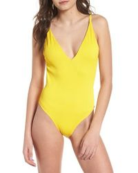 TOPSHOP - Plunge One-piece Swimsuit - Lyst