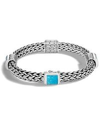 John Hardy - Classic Silver & Turquoise Chain Bracelet - Lyst