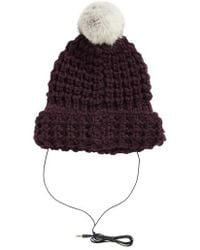 Rebecca Minkoff - Chunky Tuck Beanie With Genuine Rabbit Fur Pom - - Lyst