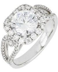 Bony Levy - Diamond Pave Halo Round Engagement Ring Setting (nordstrom Exclusive) - Lyst