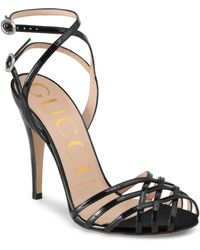 1920e68fd Lyst - Gucci Double G Ankle Strap Sandals in Black