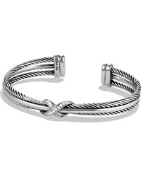 David Yurman - 'x' Crossover Cuff With Diamonds - Lyst