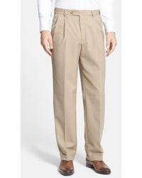 Berle | Self Sizer Waist Pleated Trousers | Lyst