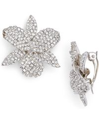 Nina - Pave Swarovski Crystal Orchid Clip Earrings - Lyst