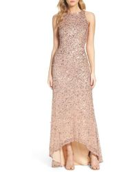 Adrianna Papell | Sequin High/low Gown | Lyst