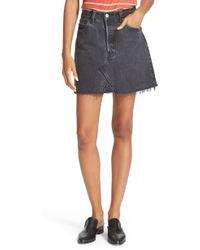 RE/DONE - High Waist Repurposed Denim Miniskirt - Lyst