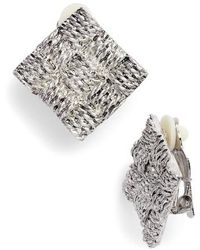 Karine Sultan - Basket Weave Square Clip Earrings - Lyst