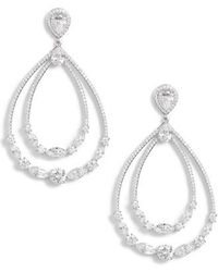 Nadri - Double Drop Hoop Earrings - Lyst