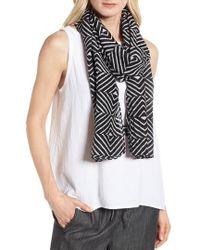 Eileen Fisher - Geo Print Organic Cotton Blend Scarf - Lyst