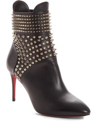 Christian Louboutin - Black Hongroise 85 Studded Leather Ankle Boots - Lyst