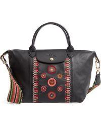 Longchamp - Le Pliage Embroidered Leather Shoulder Bag - - Lyst