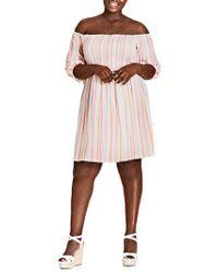 City Chic - Island Stripe Dress - Lyst