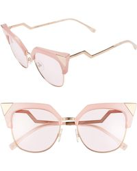 497bf0d260aaa Fendi Crystal 52mm Tipped Cat Eye Sunglasses - Light Pink in Pink - Lyst
