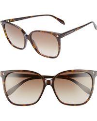 Alexander McQueen - 59mm Butterfly Sunglasses - Dark Havana/ Gray - Lyst