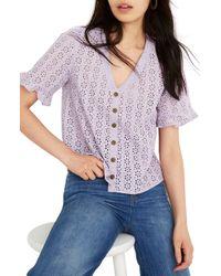 Madewell Eyelet Village Ruffle Sleeve Shirt