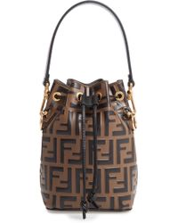 Fendi - Mini Mon Tresor Logo Calfskin Leather Bucket Bag - - Lyst