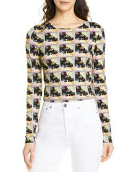 8f1e0d4b5aea14 Alice + Olivia 'rylyn' Strass Smiley Stace Print T-shirt in White - Lyst