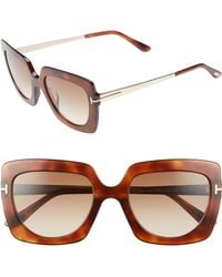 c6aff1f58a Tom Ford - Jasmine 53mm Sunglasses - Blonde Havana  Gradient Brown - Lyst