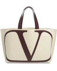 Valentino Vlogo Large Canvas Shopper - Natural