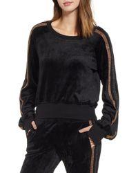 Pam & Gela - Crop Stripe Sleeve Sweatshirt - Lyst