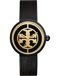 Tory Burch - Reva Logo Dial Leather Strap Watch - Lyst