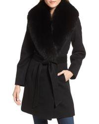 Sofia Cashmere | Genuine Fox Fur Lapel Wool & Cashmere Wrap Coat | Lyst