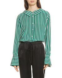 Robert Rodriguez | Large Stripe Gathered Back Silk Shirt | Lyst