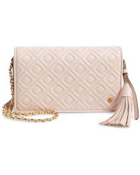 dad01a02077 Lyst - Tory Burch Mini Fleming Leather Bucket Bag in Pink