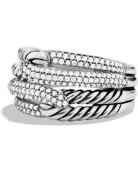 David Yurman - 'labyrinth' Double-loop Ring With Diamonds - Lyst