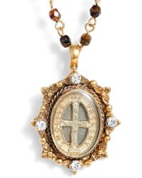 Virgins, Saints & Angels - Oval Pinto San Benito Magdalena Rosary Necklace - Lyst