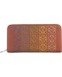 Loewe - Logo Embossed Zip Around Leather Wallet - Lyst
