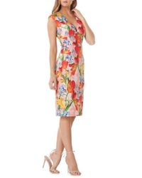 Kay Unger | Floral Sheath Dress | Lyst