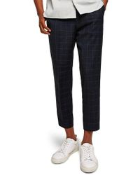 TOPMAN - Slim Fit Grid Check Crop Pants - Lyst