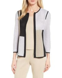 Ming Wang - Colorblock Netted Knit Jacket - Lyst