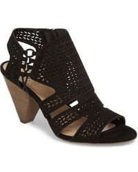 bf635385b61c Vince Camuto Tressa Perforated Lace-up Sandal in Black - Lyst
