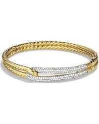 David Yurman - Labyrinth Diamond 18k Yellow Gold Bangle Bracelet - Lyst
