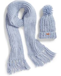 Barbour - Chunky Knit Hat & Scarf Set - Lyst