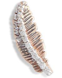 Kismet by Milka - Diamond Feather Single Earring - Lyst