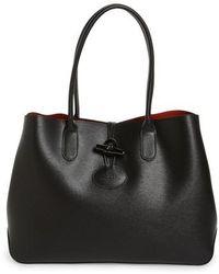 Lyst - Longchamp Roseau Verni Leather Tote in Brown 82f20fa649641