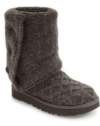 73de6d076c0 Ugg Grey Rib Knit Wool 'classic Cardy' Boots in Gray - Lyst