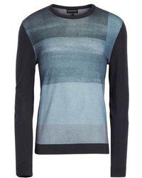 Emporio Armani - Crewneck Colorblock Slim Fit Sweater - Lyst