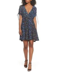 French Connection - Aubine Tie Sleeve Fit & Flare Dress - Lyst