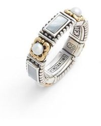Konstantino | Etched Sterling Silver & Pearl Band Ring | Lyst