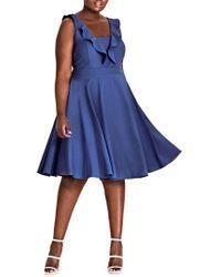 City Chic - Flirty Flutter A-line Dress - Lyst