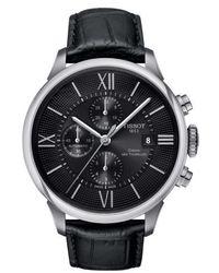 Tissot - Chemin Des Tourelles Automatic Chronograph Leather Strap Watch - Lyst